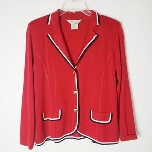 Exclusively Misook Red Cardigan Jacket Size M